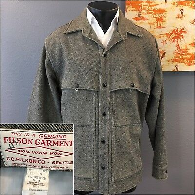 CC FILSON Co USA MENS SALT & PEPPER 100% WOOL MACKINAW HUNTING SHIRT JACKET Sz L