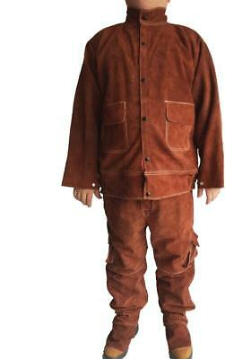 Leather Welding Brown Jacket Coat Trousers Protective Clothing Suit for Welder a