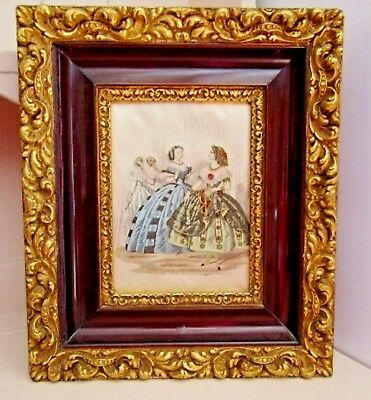 Vintage French Beautiful Rococo Style Gilt Framed Fashion Lithograph On Silk