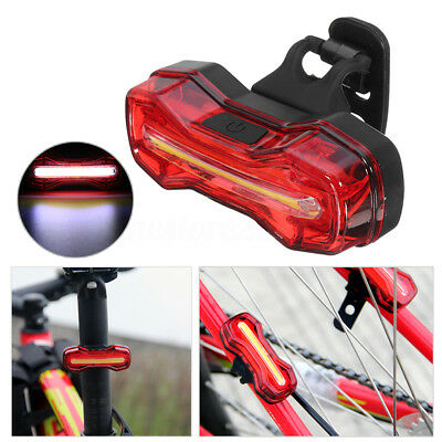 USB Waterproof COB Bicycle Bike Front Rear Tail Light Rechargeable Warning Lamp