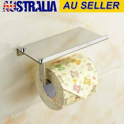 Bathroom Toilet Tissue Roll Paper Phone Holder Wall Mount Shelf Stainless Steel