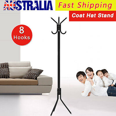 New Black 8 Hook Hat Coat Clothes Metal Rack Umbrella Stand Tree Style Hanger AU