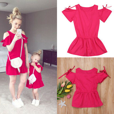 AU Mother Daughter Women Kids Girls Summer Off Shoulder Casual Party Dress