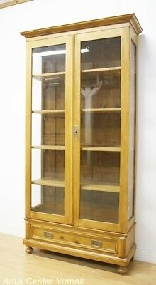 Jugendstil Vitrine Regal Bücher Glas Schrank Buffet Bank Kommode Natur Antik