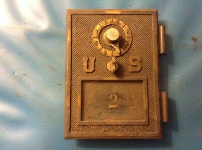 Antique Brass US Post Office Box Mailbox Door with Glass No. 2 wood Bank
