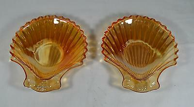 Pair of Vintage Marigold Carnival Iridescent Glass Shell Shaped Candy Dish