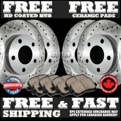 P1126 FIT 2006-2010 2011 2012 Ford Fusion Drilled Brake Rotors Ceramic pads F+R