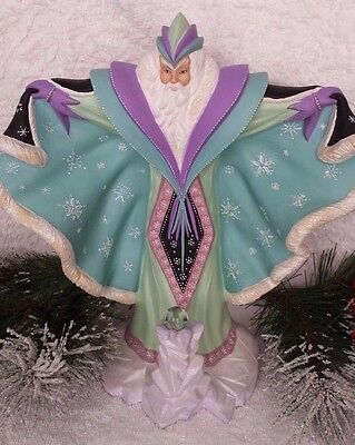 Ceramic Winter Magical Merlin Wizard with crystal ball hand made and painted