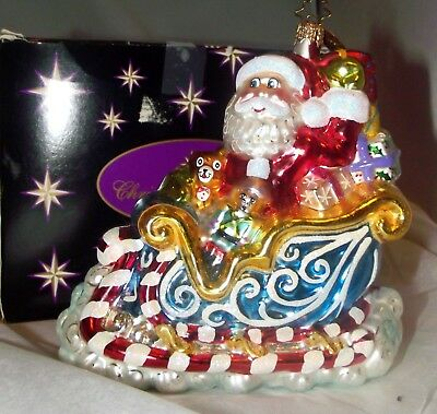 Christopher Radko Ornament Santa Claus in Peppermint Sleigh w/ Toys Mint MIB+Box