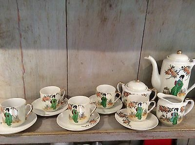 Vintage 15 Piece Japanese Klimax Hand Painted Coffee Set Green & Gilded Finish