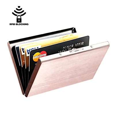 Credit Card Holder Wallet Case Protector RFID Block Aluminum Women Slim Rose