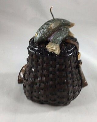 Candle Solid With Fish On Fishing Basket Detailed Rare Boxed
