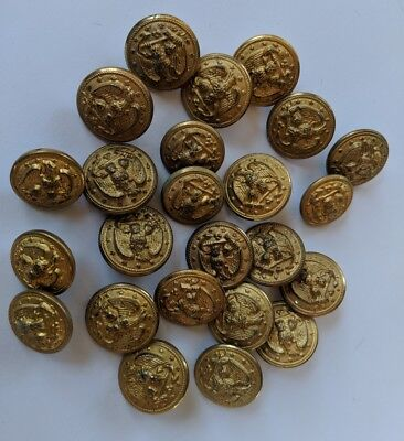 Lot of 24 Navy Military Uniform Buttons WW2 WWII 1940s Vintage Watwrbury