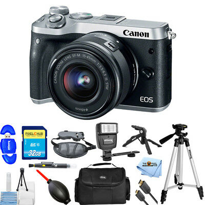 Canon EOS M6 Mirrorless Digital Camera with 15-45mm Lens (Silver) PRO BUNDLE