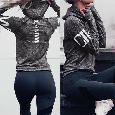 Quick Dry Women Long Sleeve Fitness Gym Running Yoga Casual Sport Blouse Tops UK