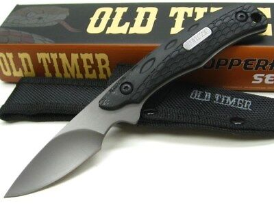 Schrade Old Timer Copperhead Black Caping Fixed Blade Knife + Sheath 2156OT
