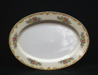 "Old Vintage 14"" Oval Serving Platter w Floral Pattern & Swag Edge Design Japan"