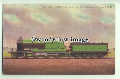 ry1322 - L.&.S.W.R. No.330 Six Coupled Bogie Express Locomotive - postcard