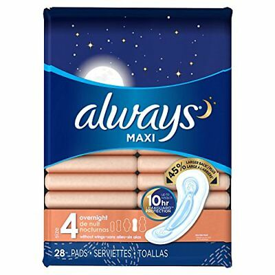 Always Maxi Overnight Protection Pads Without Wings Size 4, 28 Count