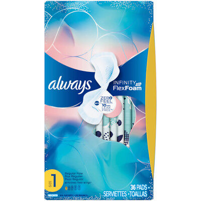 Always Infinity Size 1 FlexFoam Pads with Flexi-Wings, Regular Flow, 36 Count