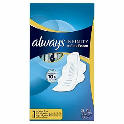 2 Pack Always Infinity Size 1 FlexFoam Pads w/ Flexi-Wings Regular Flow 36 Ct Ea