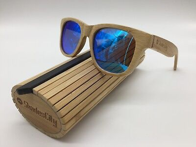 2019 Handcrafted Unisex Natural Bamboo Frame Blue Mirror Polarized Sunglasses