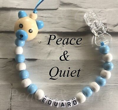 Personalised Dummy Clip💙Wooden💙Best Seller💙Dummy Chain💙Blue💙white💙ted #PWP