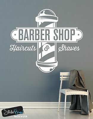 Barbershop Sign Haircuts and Shaves Vinyl Wall Decal Sticker #6066