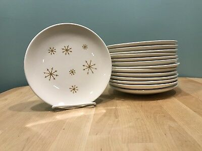 Set of 14 Royal China Star Glow Ironstone USA 6 Inch Plate Snowflake Atomic MCM