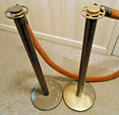 Pair of Vintage Brass Barrier Posts Theatre Stanchion w 8' Rope Lawrence Casting