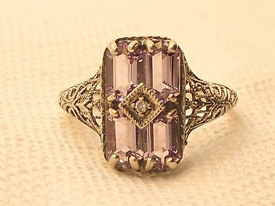 Estate  Sterling Silver CNA Signed Amethyst & Diamond Filigree Ring