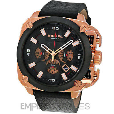 94074907b22 NEW DIESEL BAMF Chronograph Black Dial Black Leather Rosegold Men s ...