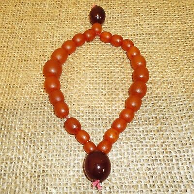 Antique Genuine Baltic Egg Yolk Butterscotch Amber Round Beads Rosary, 126