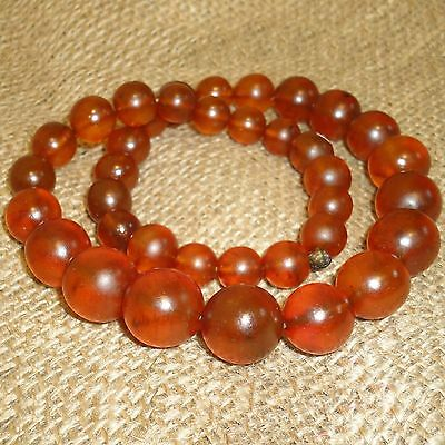 61gr! Antique Old Genuine Baltic Egg Yolk Amber Round Beads Necklace. Natural 53
