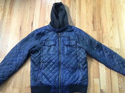 Men's indigo blue Guess quilted vegan leather hooded jacket size XL