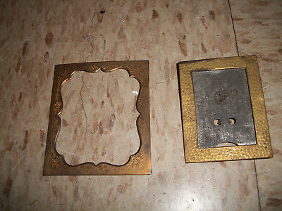 Lot of 2 small antique Brass Picture frames