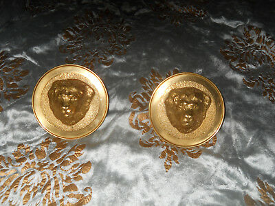 "Pair Of Brass Lion Head Curtain Hold Backs! 4.5"" Diameter!Elegant!"