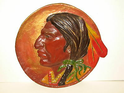 Plaster Native American Indian Chalkware Like Painted Chief Plaque Plate