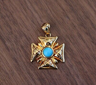 SIGNED STERLING SILVER 925 Gold-tone Cross Pendant with Turquoise, Italy