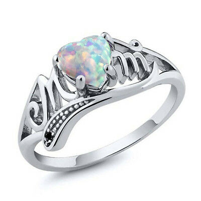 White Fire Opal 925 Silver Mom Party Wedding Engagement Woman Ring Size 6-10