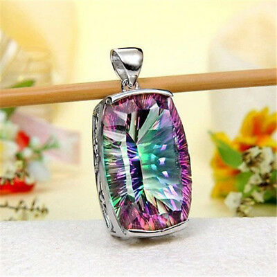 925 Silver Mystic Rainbow Topaz Pendant Chain Necklace 24 inches for Women