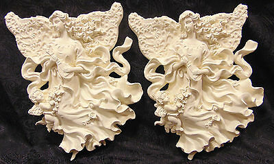 Pair of Angel , Cherubs Wall Plaques  Shabby Chic Look