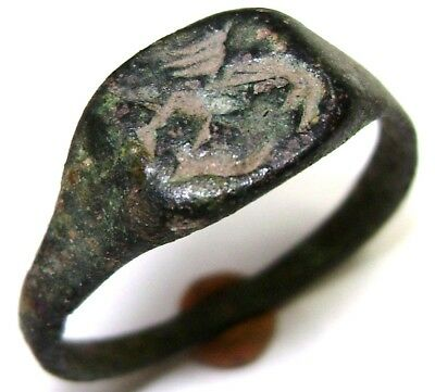 Ancient Rare Medieval decorated bronze ring with DRAGON on bezel.