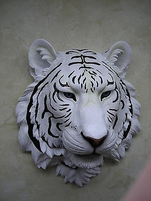 Hd17833 Blue Ice White Tiger Bust Wall Decoration 16 Inches Longresin Dwk