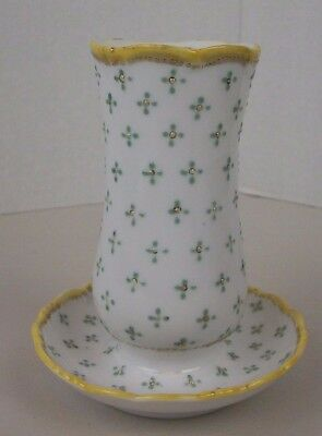 Vintage Ceramic Hat Pin Holder with Attached Tray Textured Dot Design