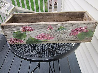 Vintage window planter/hand painted/ so shabby. Garden piece. One of a kind.