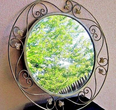 """Vintage Round Mirror Wrought Iron Wall Hanging Ivy Scrolls Gold White Large 25"""""""