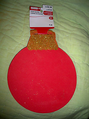 """Foam Shapes*8"""" Red Ornament with Glitter Top*4-pack"""