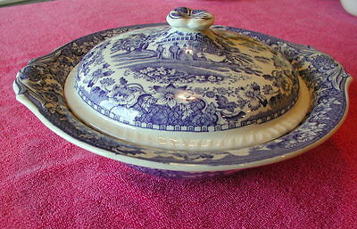 """Wood & Sons Enoch (Seaforth - Blue) 10"""" COVERED SERVING BOWL"""