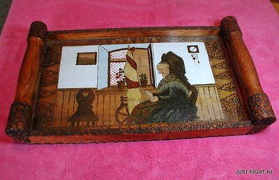 "Handmade Wooden Artwork under glass 19"" x 10 5/8"" SERVING TRAY Signed bell Exc"
